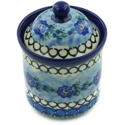 "Polish Pottery Small Canister 6"" Blue Delight UNIKAT"