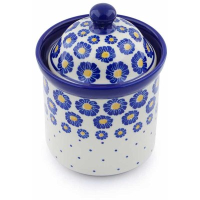 "Polish Pottery Small Canister 6"" Blue Zinnia"