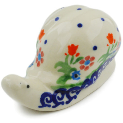 "Polish Pottery Snail Figurine 4"" Spring Flowers"