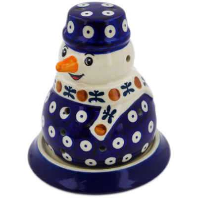 "Polish Pottery Snowman Candle Holder 5"" Mosquito"