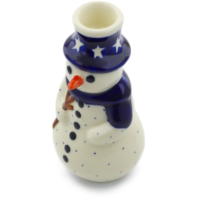 "Polish Pottery Snowman Candle Holder 6"" America The Beautiful"