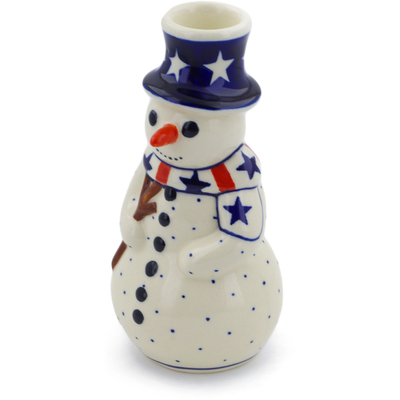 "Polish Pottery Snowman Candle Holder 6"" Americana"