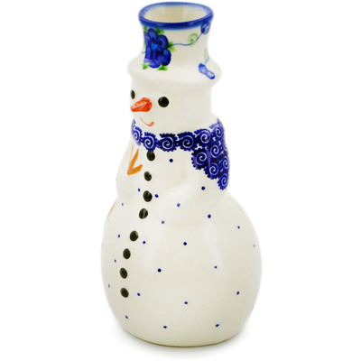 "Polish Pottery Snowman Candle Holder 6"" Blue Poppies"