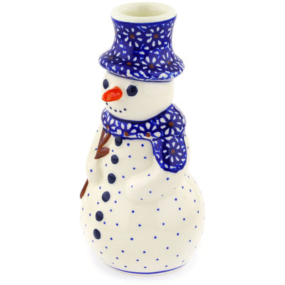 "Polish Pottery Snowman Candle Holder 6"" Daisy Dreams"