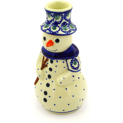 "Polish Pottery Snowman Candle Holder 6"" Emerald Peacock Eyes"