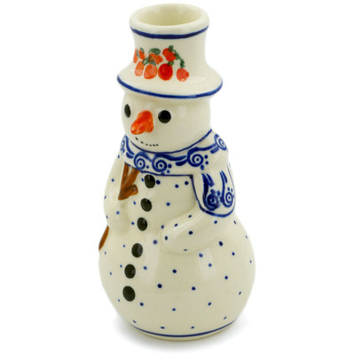"Polish Pottery Snowman Candle Holder 6"" Fruit Wave"