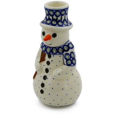 "Polish Pottery Snowman Candle Holder 6"" Peacock Leaves"