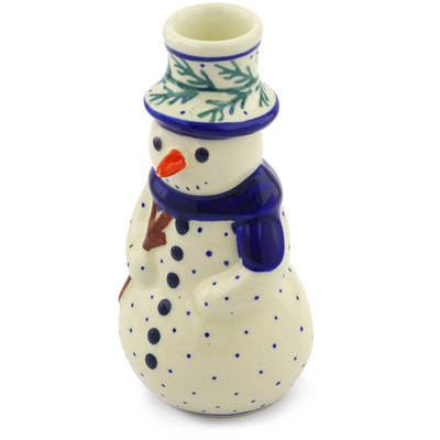 "Polish Pottery Snowman Candle Holder 6"" Pine Boughs"