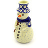 "Polish Pottery Snowman Candle Holder 6"" Red Eyed Peacock"