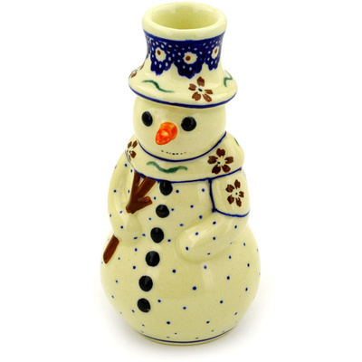 "Polish Pottery Snowman Candle Holder 6"" Sweet Red Flower"