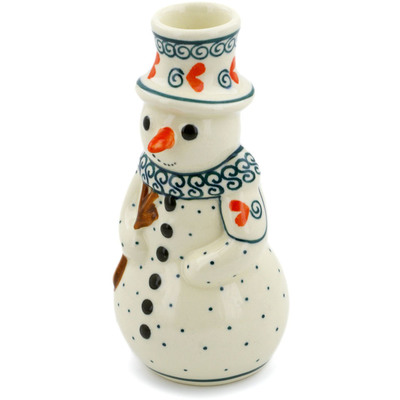 "Polish Pottery Snowman Candle Holder 6"" Swirled Heart"