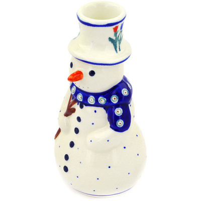 "Polish Pottery Snowman Candle Holder 6"" Tulip Pair Peacock"
