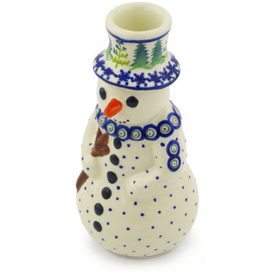 "Polish Pottery Snowman Candle Holder 6"" Winter Ferns"
