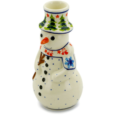 "Polish Pottery Snowman Candle Holder 6"" Winter Land"