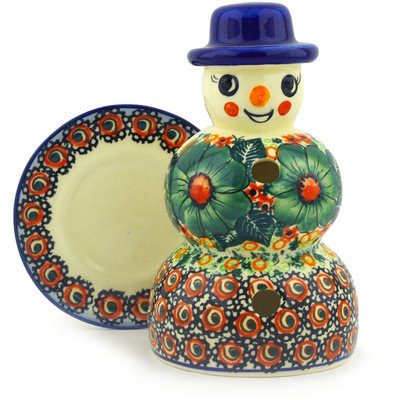 "Polish Pottery Snowman Candle Holder 7"" Bloom & Wild UNIKAT"