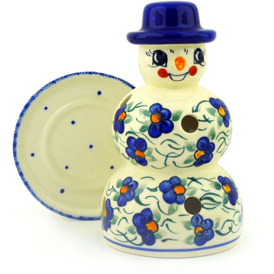 "Polish Pottery Snowman Candle Holder 7"" Blooming Happiness UNIKAT"