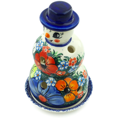 "Polish Pottery Snowman Candle Holder 7"" Summertime Blues UNIKAT"