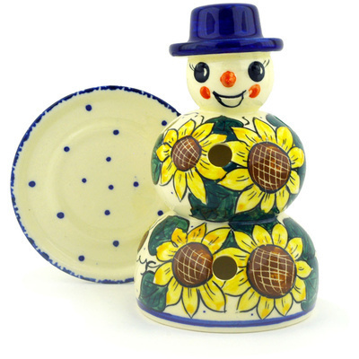 "Polish Pottery Snowman Candle Holder 7"" Sunflower Power UNIKAT"