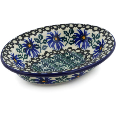 "Polish Pottery Soap Dish 5"" Blue Chicory"