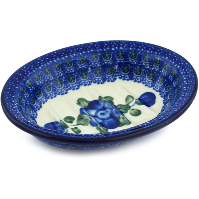 "Polish Pottery Soap Dish 5"" Blue Poppies"
