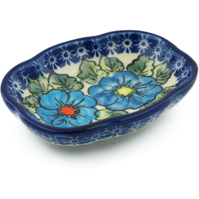 "Polish Pottery Soap Dish 5"" Bold Blue Poppies UNIKAT"