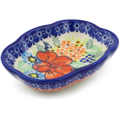 "Polish Pottery Soap Dish 5"" Bold Poppies UNIKAT"