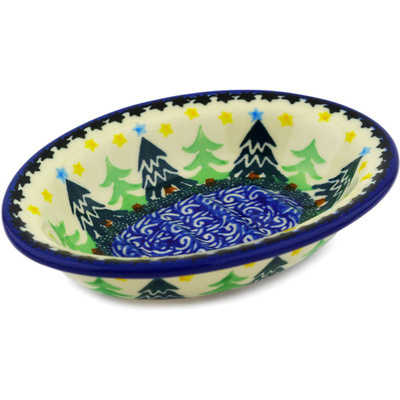 "Polish Pottery Soap Dish 5"" Christmas Evergreen"