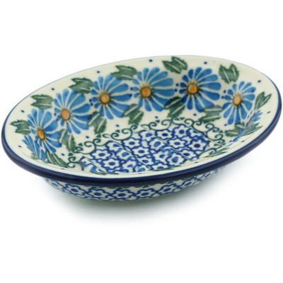 "Polish Pottery Soap Dish 5"" Morning Daisy"
