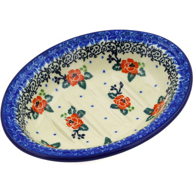 "Polish Pottery Soap Dish 5"" Pasadena Delight"