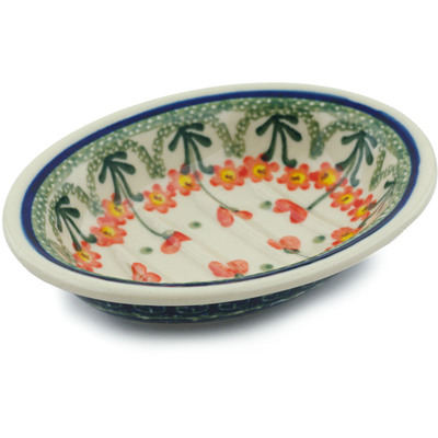 "Polish Pottery Soap Dish 5"" Peach Spring Daisy"