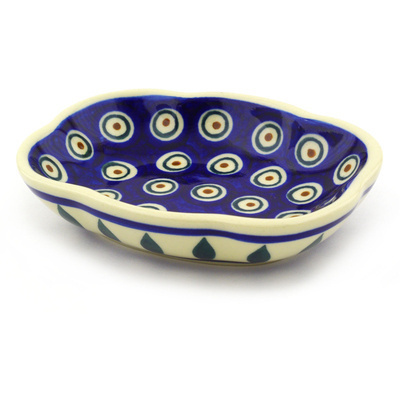 "Polish Pottery Soap Dish 5"" Peacock"