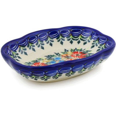 "Polish Pottery Soap Dish 5"" Ring Of Flowers UNIKAT"