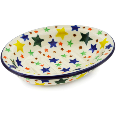 "Polish Pottery Soap Dish 5"" Star Fiesta"