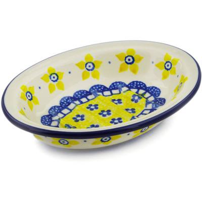 "Polish Pottery Soap Dish 5"" Sunshine"