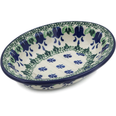 "Polish Pottery Soap Dish 5"" Texas Bluebell"