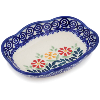 "Polish Pottery Soap Dish 5"" Wave Of Flowers"