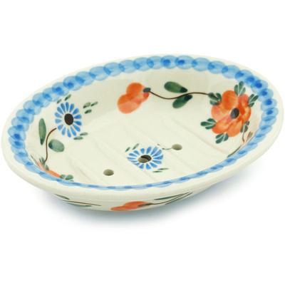 "Polish Pottery Soap Dish 6"" Cherry Blossoms"