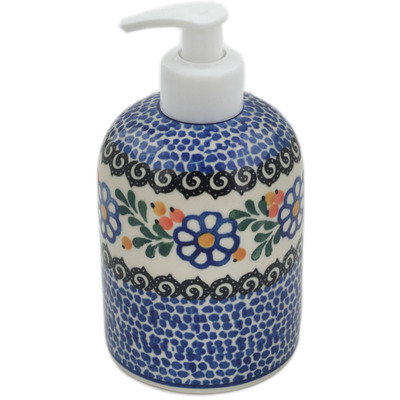 "Polish Pottery Soap Dispenser 5"" Berries And Daisies"
