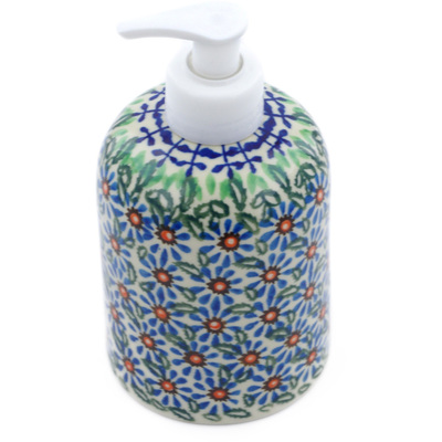 "Polish Pottery Soap Dispenser 5"" Chicory Blue Meadow"