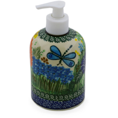 "Polish Pottery Soap Dispenser 5"" Garden Delight UNIKAT"