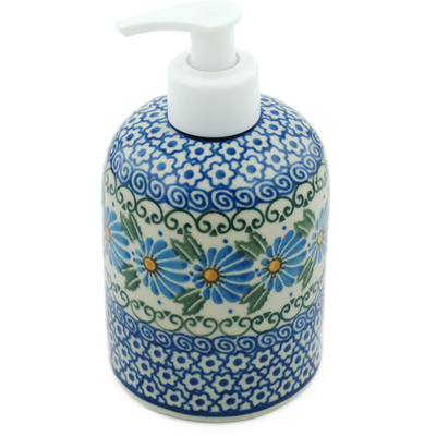 "Polish Pottery Soap Dispenser 5"" Marigold Morning"