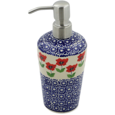 "Polish Pottery Soap Dispenser 8"" Wind-blown Poppies"