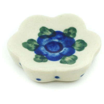 "Polish Pottery Spoon Rest 2"" Blue Poppies"