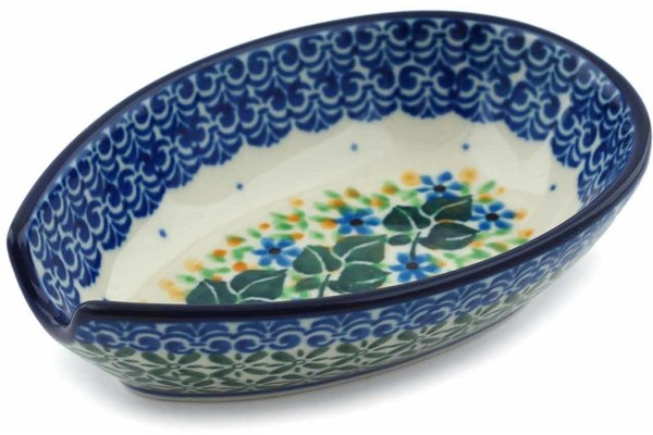 Polish Pottery Spoon Rest 5 Aster Wreath