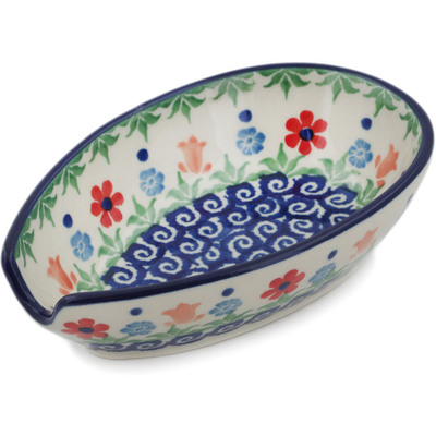 "Polish Pottery Spoon Rest 5"" Babcia's Garden"
