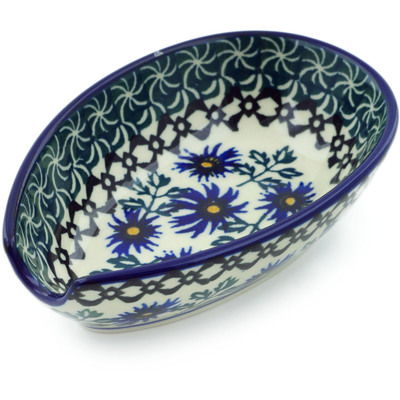 "Polish Pottery Spoon Rest 5"" Blue Chicory"