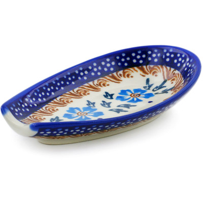 "Polish Pottery Spoon Rest 5"" Blue Cornflower"