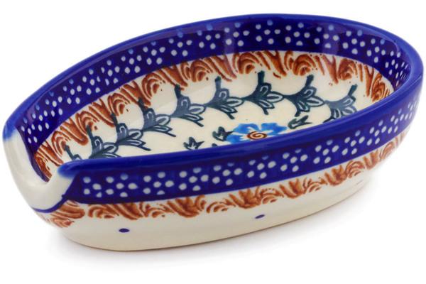 Polish Pottery Spoon Rest 5 Blue Cornflower