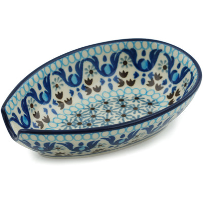 "Polish Pottery Spoon Rest 5"" Blue Ice"