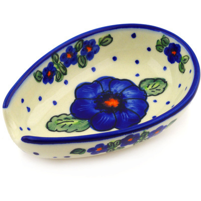 "Polish Pottery Spoon Rest 5"" Bold Blue Pansy"